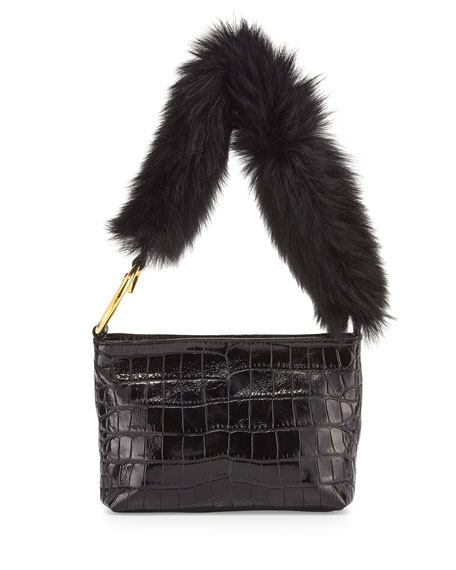 Finley Crocodile-Embossed Fur Shoulder Bag, Black