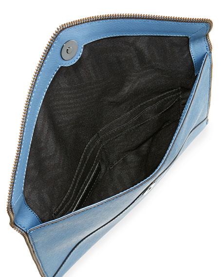 Leo Saffiano Envelope Clutch Bag, Dusty Blue