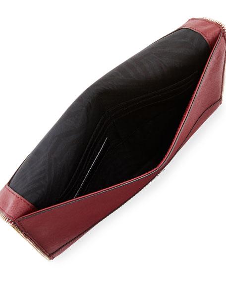 Leo Saffiano Envelope Clutch Bag, Tawny Port