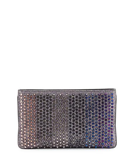 Louboiposh Glitter Spiked Clutch Bag, Ronsard/Multi