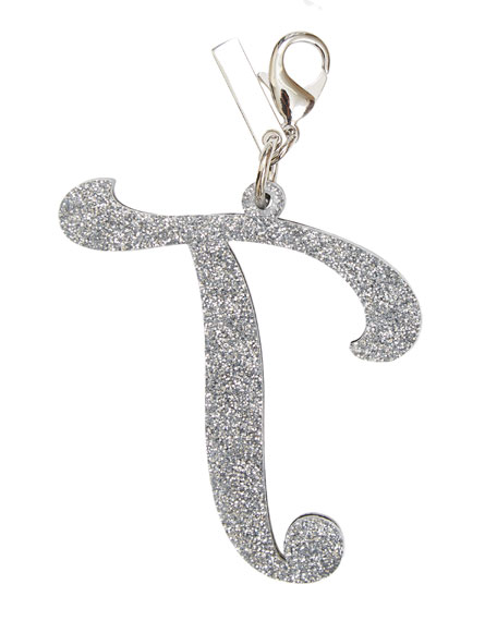 Alphabet T Bag Charm, Starlight Silver