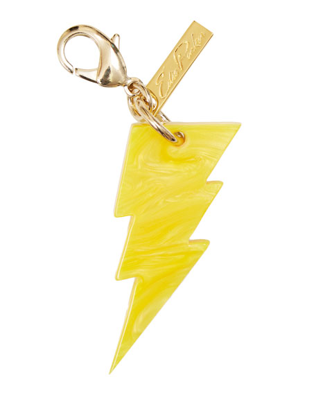 Edie Parker Lightning Bolt Bag Charm, Yellow Glow