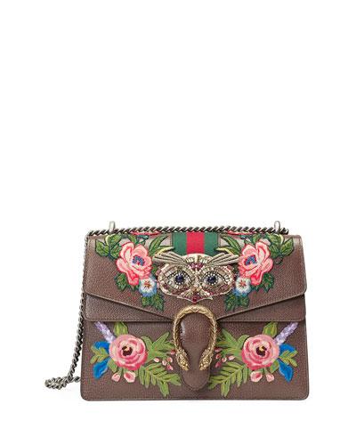 Dionysus Medium Owl-Embroidered Shoulder Bag, Gray/Multi