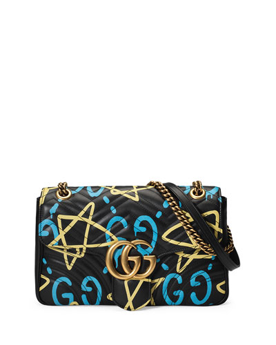 GG Writers Medium Graffiti-Print Shoulder Bag, Black/Multi