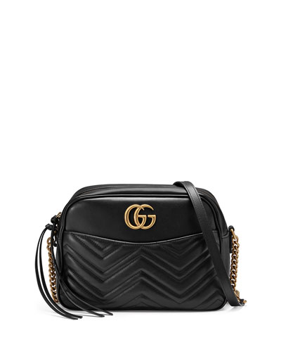 GG Marmont 2.0 Medium Quilted Camera Bag, Black