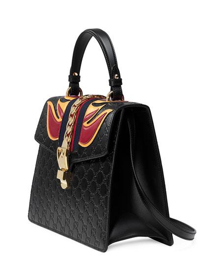 Sylvie Leather Top-Handle Satchel Bag, Black