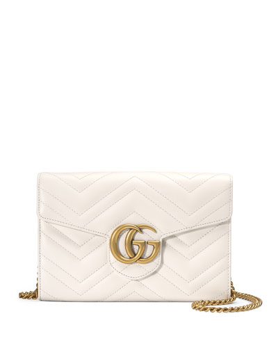 GG Marmont 2.0 Medium Quilted Wallet-on-Chain, White