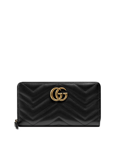 GG Marmont 2.0 Medium Quilted Zip Wallet, Black