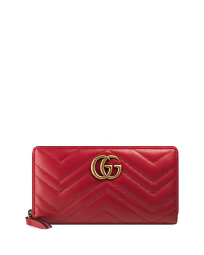 GG Marmont 2.0 Medium Quilted Zip Wallet, Red