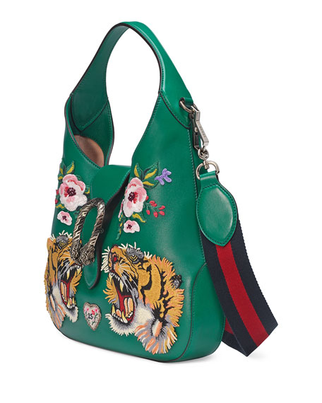 Dionysus Small Embroidered-Tigers Hobo Bag, Green/Multi