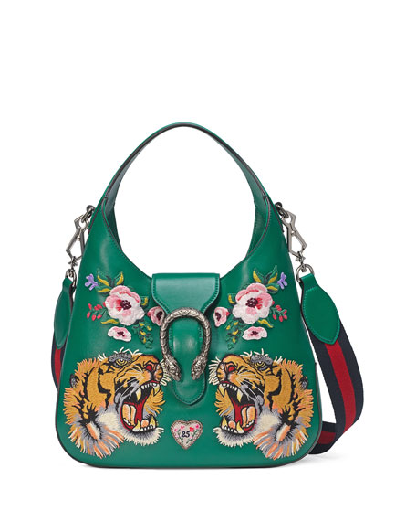 Gucci Dionysus Small Embroidered-Tigers Hobo Bag Green/Multi | Neiman Marcus