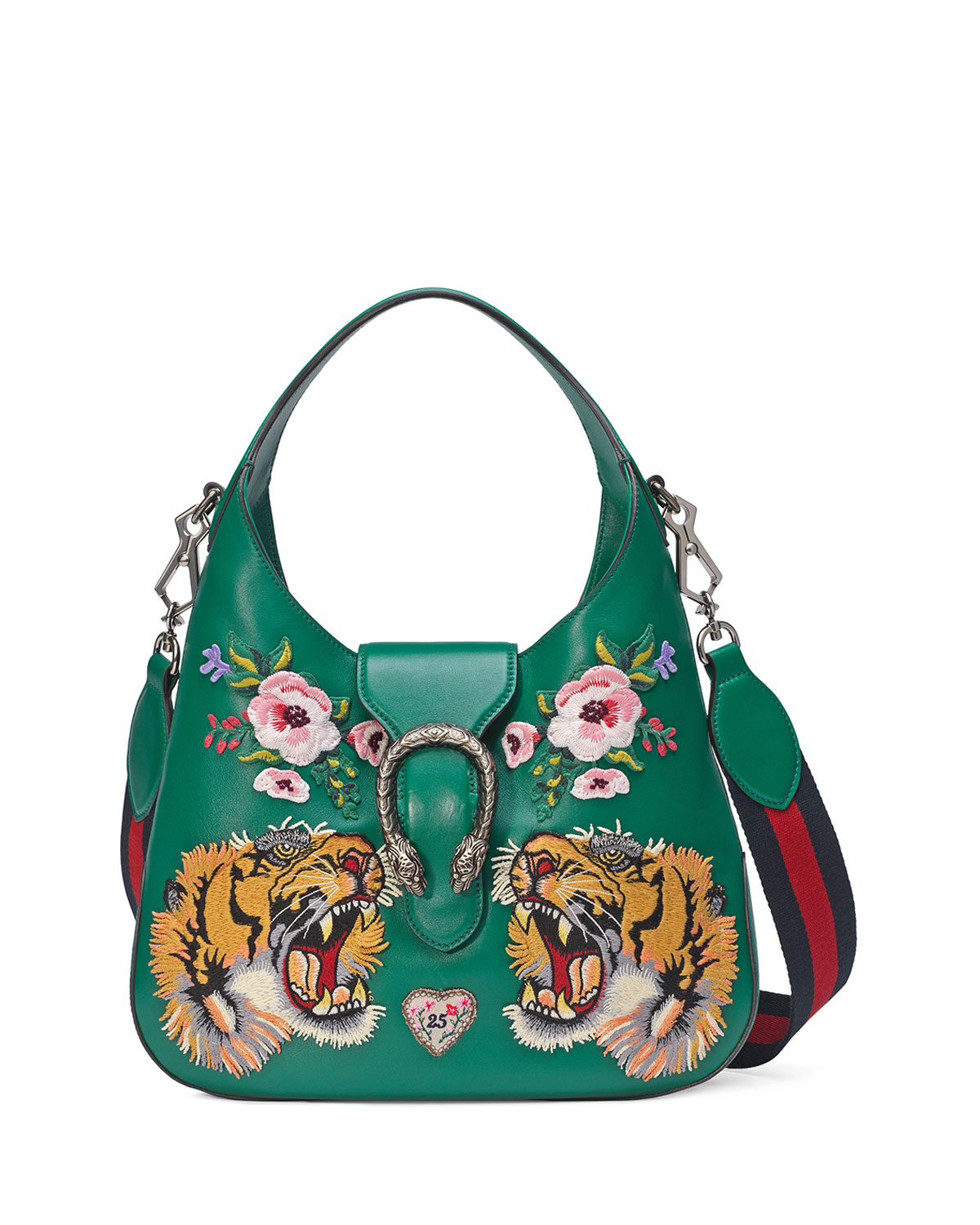 7d86f6688679eb Gucci Dionysus Small Embroidered-Tigers Hobo Bag, Green/Multi ...