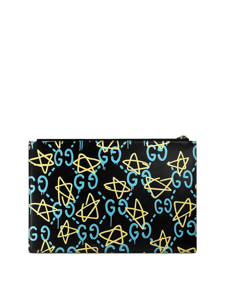 GG Writers Large Graffiti Pouch Bag, Black/Multi