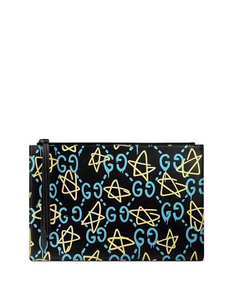 Gucci GG Writers Large Graffiti Pouch Bag, Black/Multi