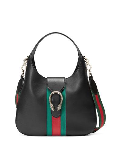 Dionysus Medium Web-Stripe Hobo Bag, Black