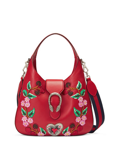 Dionysus Medium Embroidered-Flowers Hobo Bag, Red/Multi