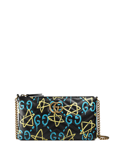 GG Writers Medium Quilted Graffiti Pouch Crossbody Bag, Black/Multi