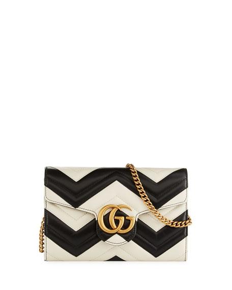 Gucci GG Marmont Matelassé Mini Bag, White/Black