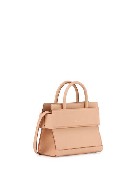 Givenchy Horizon Mini Grain Leather Satchel Bag, Beige Pink