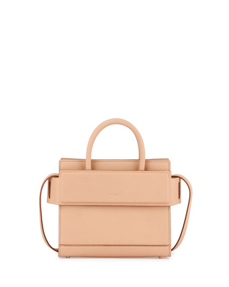 Givenchy Horizon Mini Grain Leather Satchel Bag, Beige