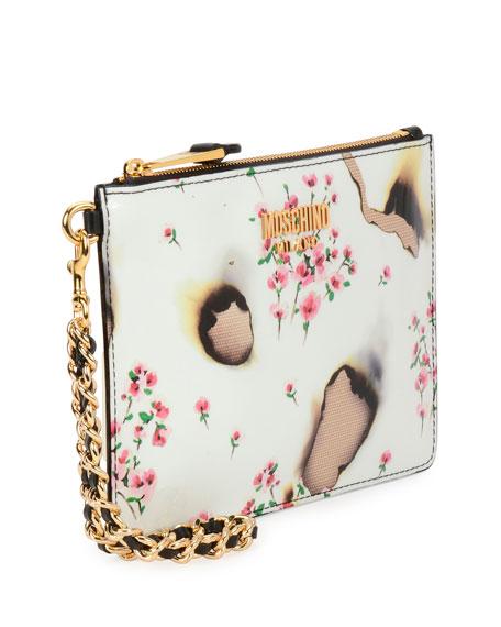 Burned Floral-Print Clutch Bag, Multicolor