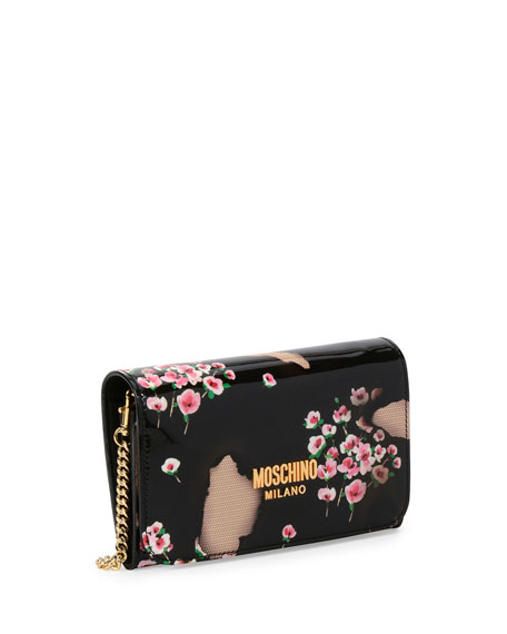 Burned Floral-Print Wallet-on-Chain, Black/Multi