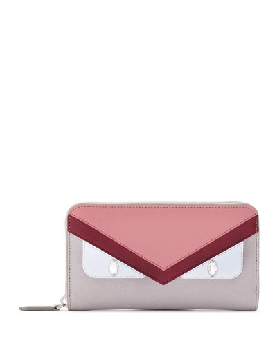 Monster Eye Colorblock Zip-Around Wallet, Taupe/Pink/Red