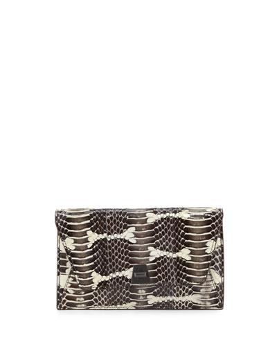 Anouk Snakeskin Envelope Clutch Bag, Ivory/Black