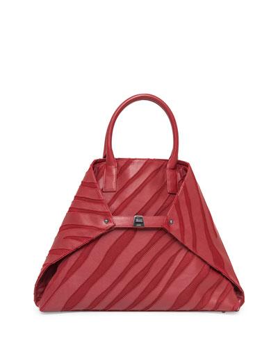Ai Medium Top-Handle Zebra-Stripe Shoulder Bag, Crimson