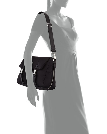 Tesutto Bomber Messenger Bag, Black (Nero)