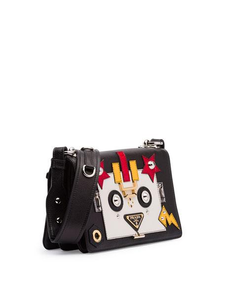 Robot Leather Shoulder Bag, Black/White (Nero/Talco)