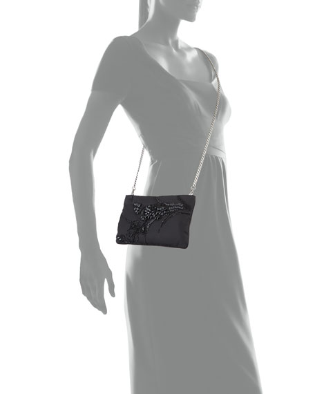 Nylon Beaded Chain Shoulder Bag, Black (Nero)