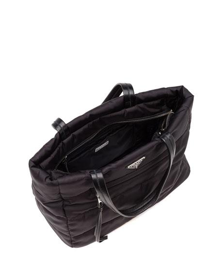 Tesutto Bomber North-South Tote Bag, Black (Nero)