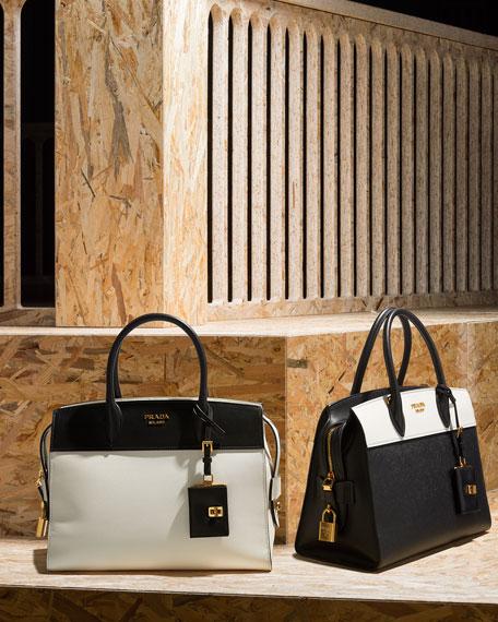 Esplanade Medium Bicolor City Satchel Bag, White/Black (Bianco/Nero)