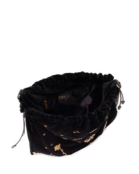 Prada Large Astrology-Embellished Drawstring Hobo Bag . 288cd7ce782d7