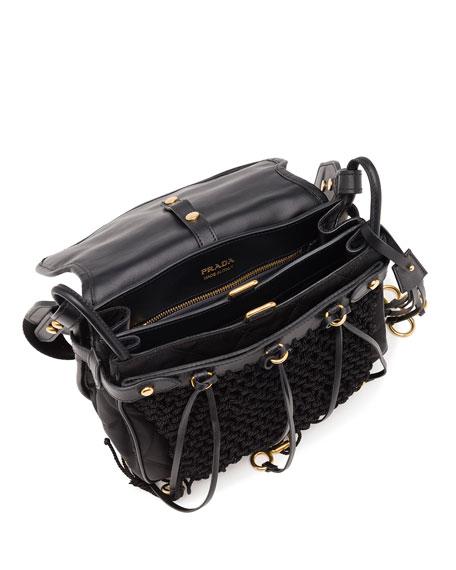 Quilted Nylon Corsair Hunting Shoulder Bag, Black (Nero)