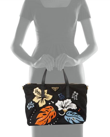 Nylon Hawaiian Tote Bag, Black (Nero)