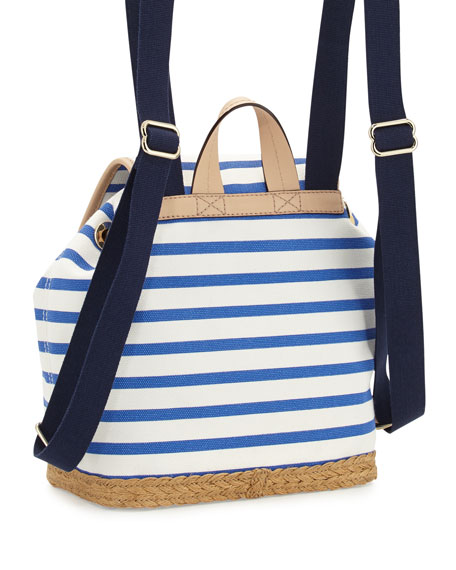 broome rogers way molly striped backpack, classic blue/cream