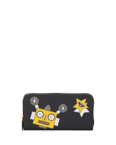 Prada Robot Zip-Around Continental Wallet, Black (Nero)