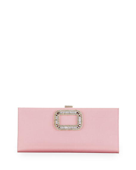 Pilgrim Crystal-Buckle Clutch Bag, Pink