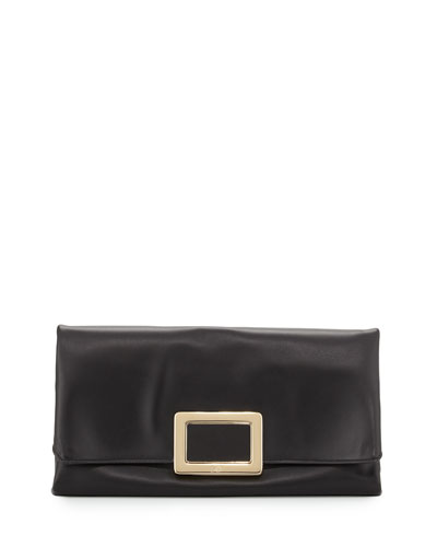 Ines Leather Small Pochette Bag, Black