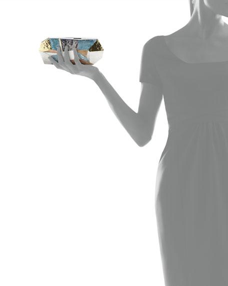Maryanne Faceted Minaudiere, Blue/Multi