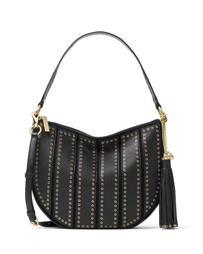 Brooklyn Medium Grommet Convertible Hobo Bag, Black