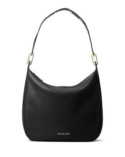 Raven Large Leather Shoulder Bag, Black