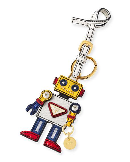Boy Robot Mirror Charm, White/Yellow (Talco/Mimosa)