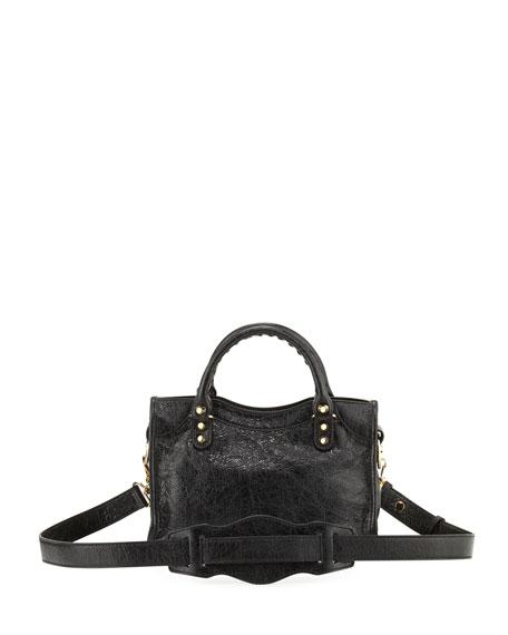 Classic Mini Lambskin City Tote Bag, Black