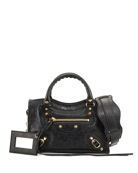 Balenciaga Classic Mini Lambskin City Tote Bag, Black