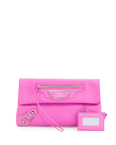 Metallic Edge Lambskin Envelope Clutch Bag, Rose