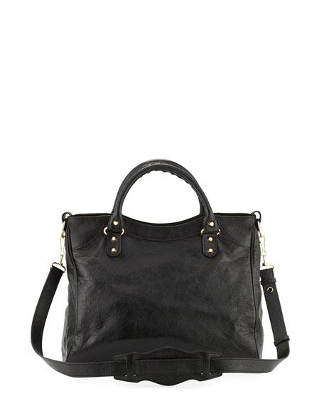 Classic Velo Lambskin Tote Bag, Black