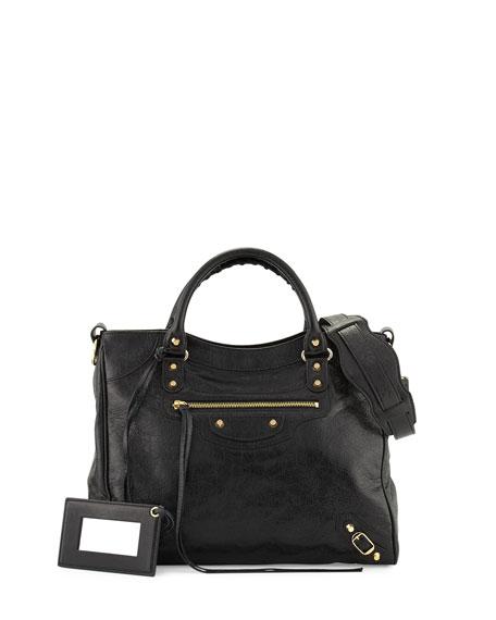 Balenciaga Classic Velo Lambskin Tote Bag, Black